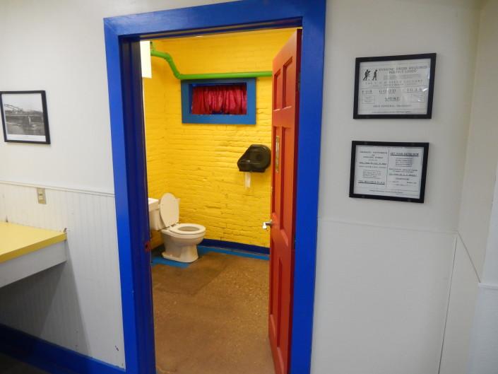 Bathroom at Bloomington Street Laundromania downtown Iowa City