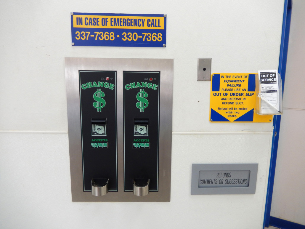 Change machine located at Laundromania in North Liberty, Iowa