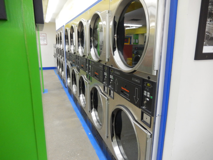 Dryers at Bloomington Street Laundromania downtown Iowa City