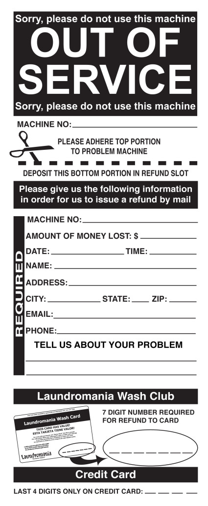 """OUT OF SERVICE"" card for Laundromania Davenport, Iowa"