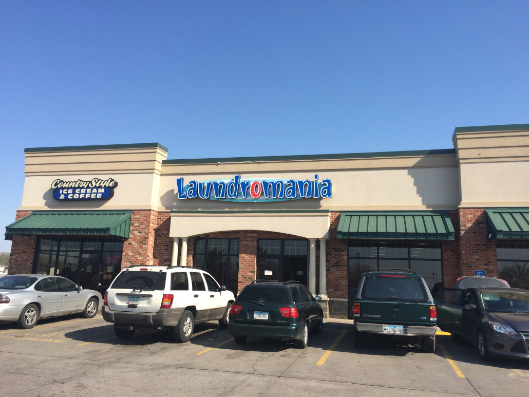 Outside of Laundromania in Davenport Iowa Laundromat