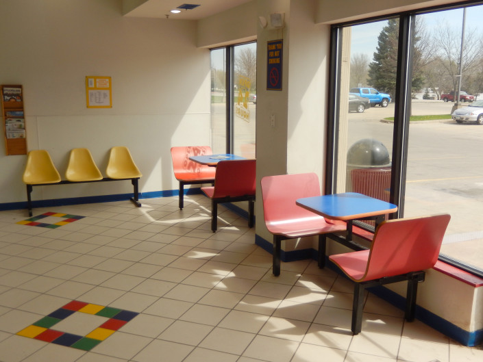 Seating area at Laundromania in North Liberty, Iowa