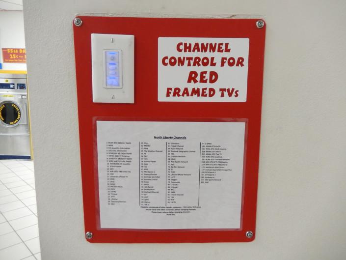 TV channel controal at Laundromania in North Liberty, Iowa