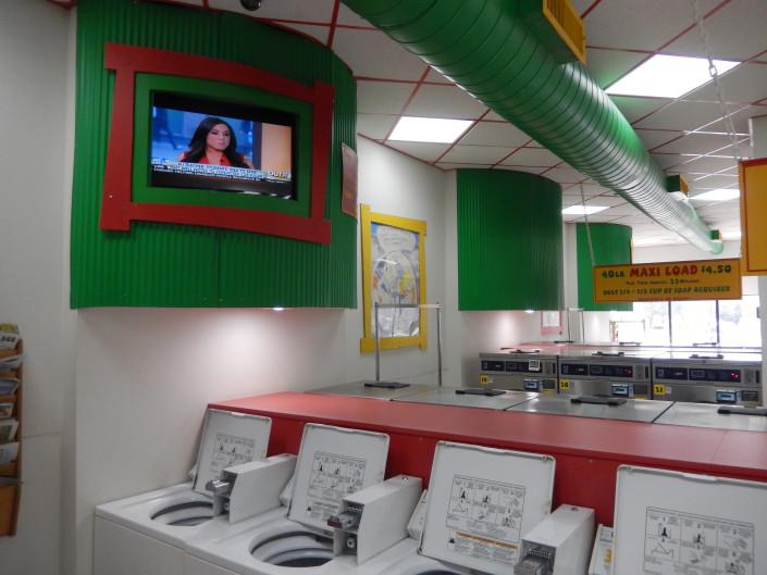 TV sets at Laundromania in North Liberty, Iowa