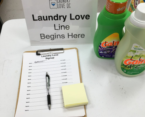 Signup sheet for Free Laundry Event on Wednesday March 2nd at Laundromania in Davenport, Iowa