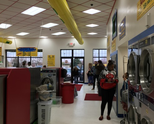 Just getting started at the Wednesday April 6 2016 Free Laundry event at Laundromania in Davenport, Iowa
