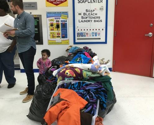 Loads of laundry at Laundromania in Davenport, Iowa