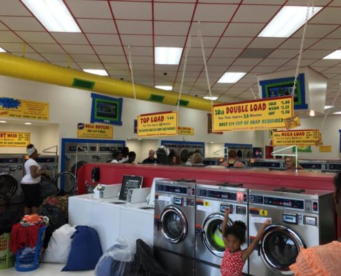 Inside Laundromania durring Free Laundry event sponsored by Laundry Love QC in Davenport, Iowa on June 1st 2016