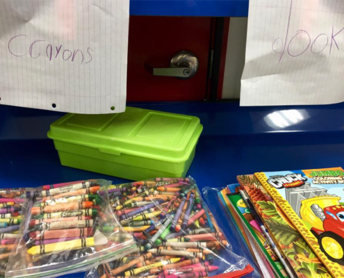 Crayons and Books for the kids