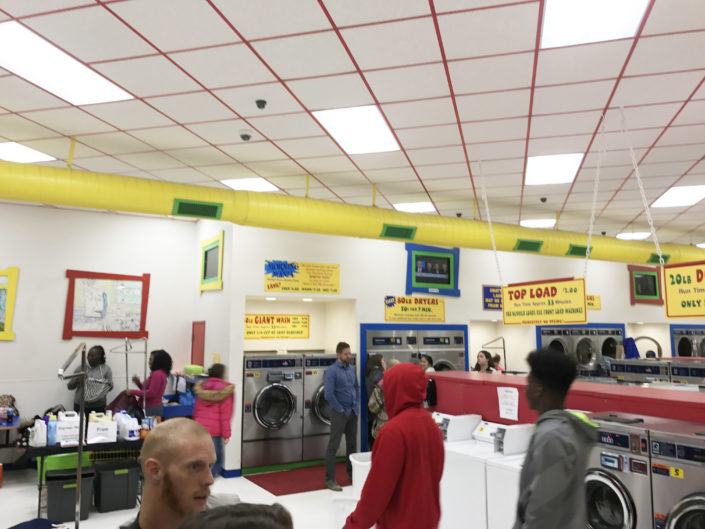 Families at Laundromania at the Quad Cities Free Laundry evnt in January 2017