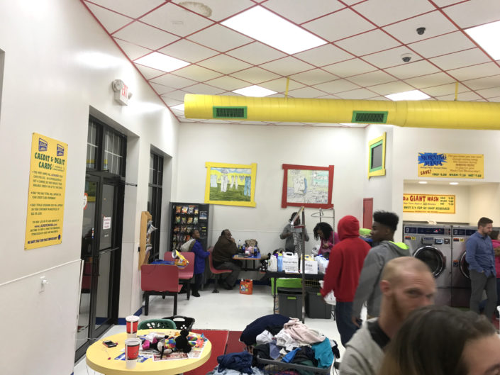 Families at the Quad Cities Free Laundry evnt in January 2017
