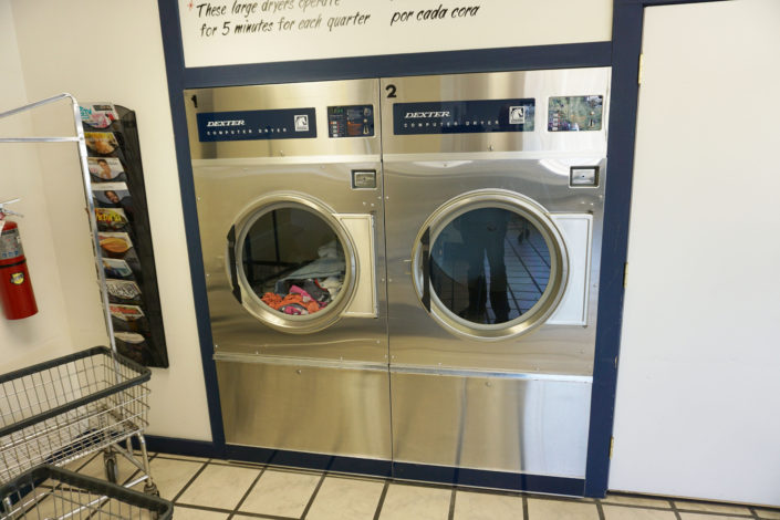 Two 50lb dryers inside Coralville Laundromania 24 hour Laundromat